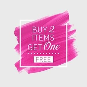 Buy 2 get 1 free (lowest priced item will be free)